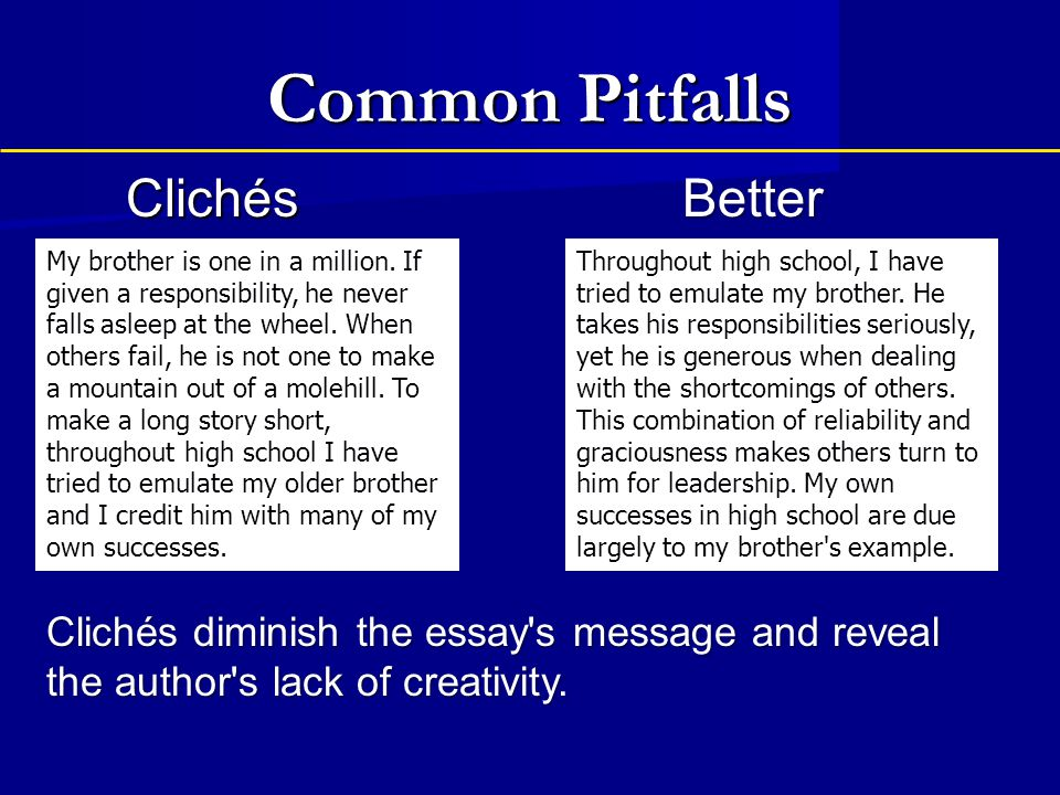Common Pitfalls Clichés Better