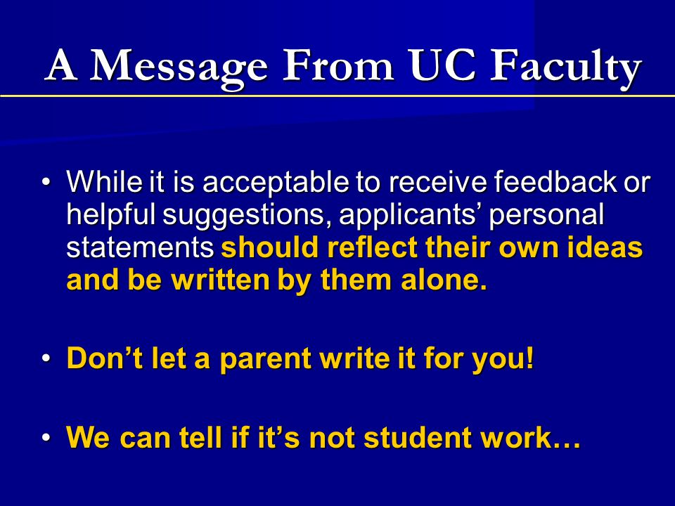 A Message From UC Faculty