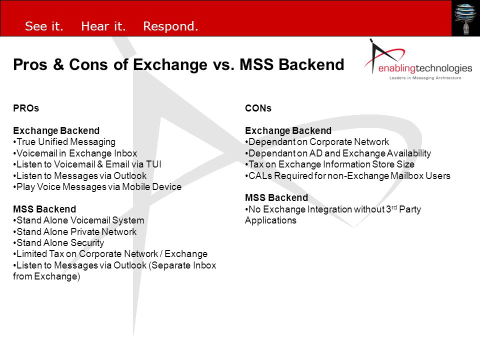 Pros & Cons of Exchange vs. MSS Backend