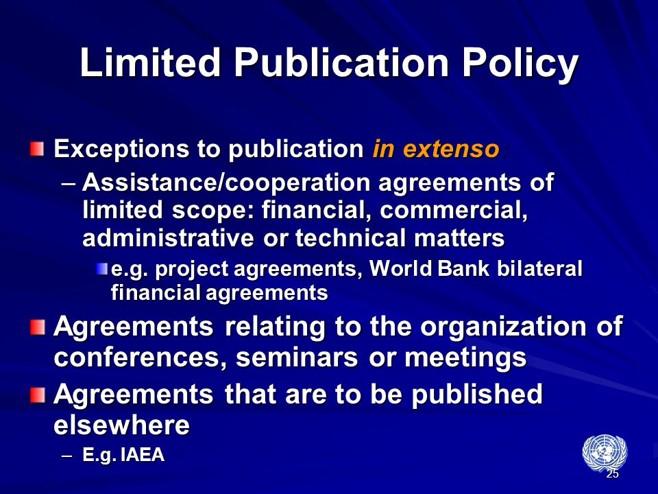 Limited Publication Policy