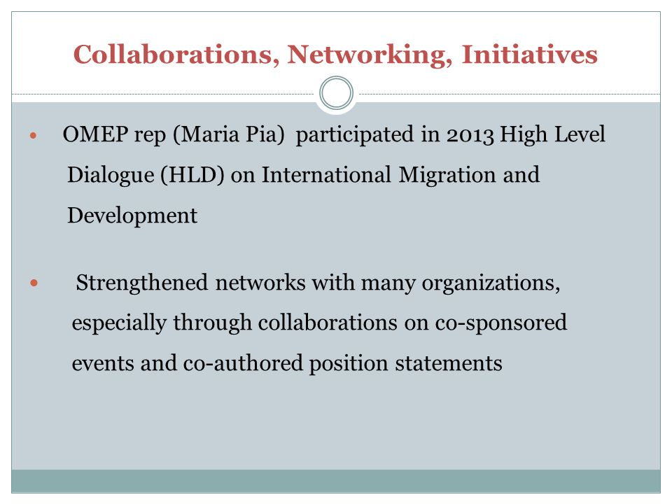 Collaborations, Networking, Initiatives