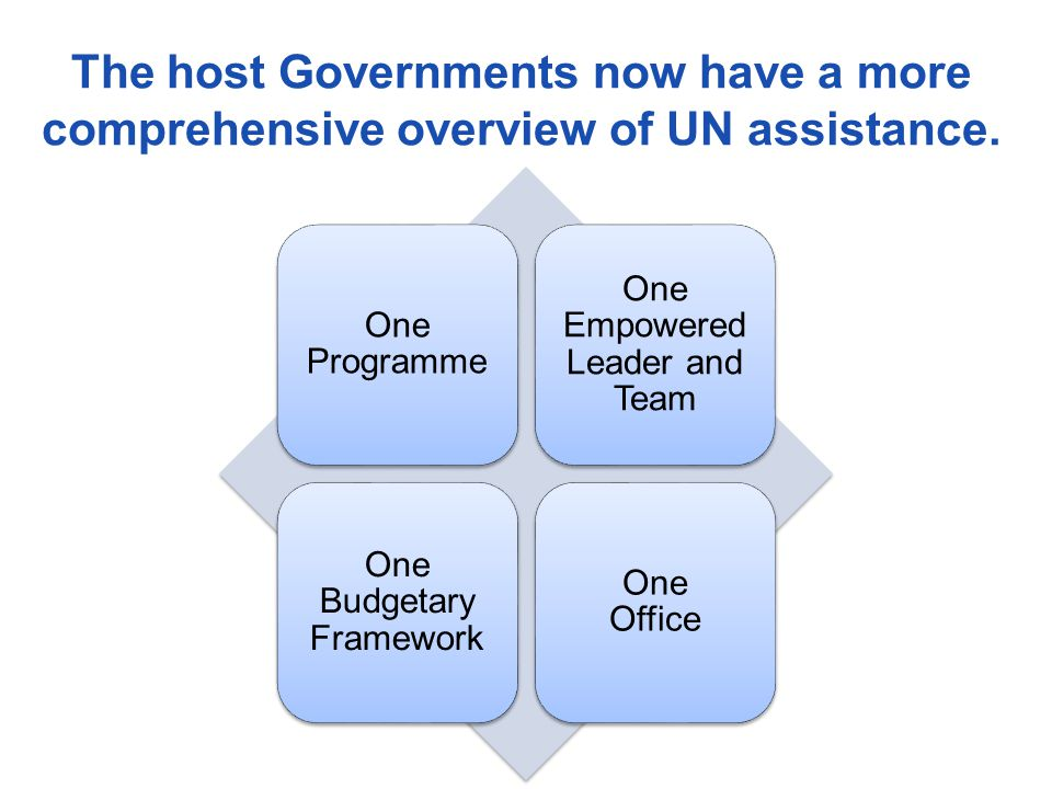 The host Governments now have a more comprehensive overview of UN assistance.