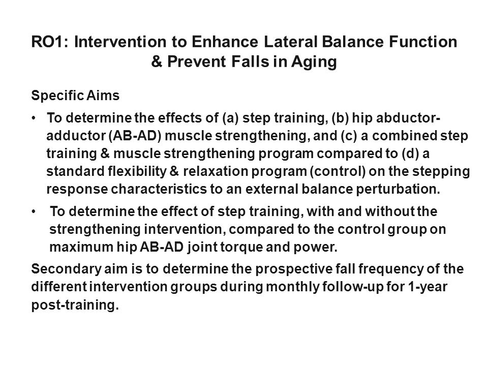 RO1: Intervention to Enhance Lateral Balance Function & Prevent Falls in Aging