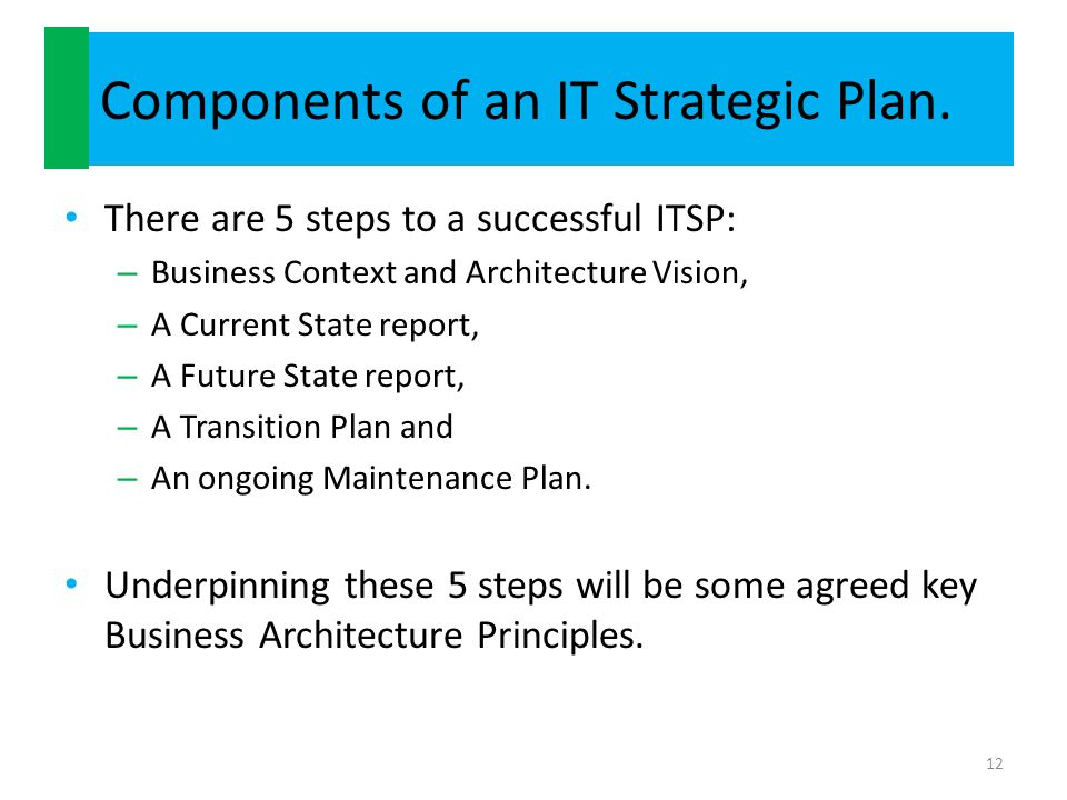 Components of an IT Strategic Plan.