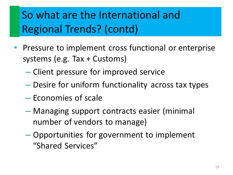 So what are the International and Regional Trends (contd)