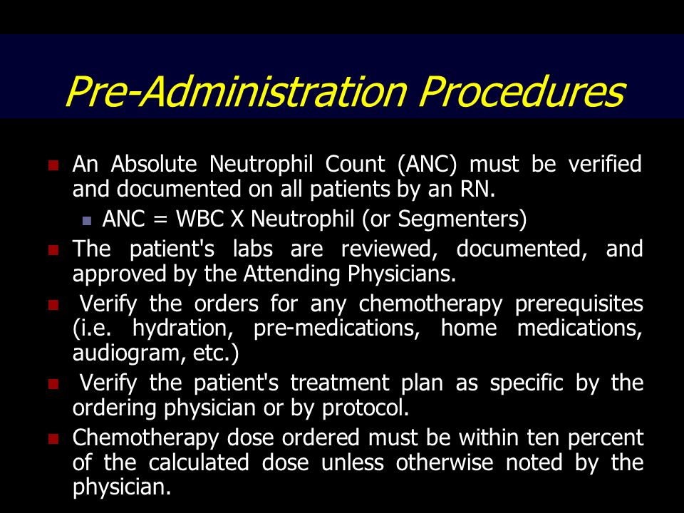 Pre-Administration Procedures