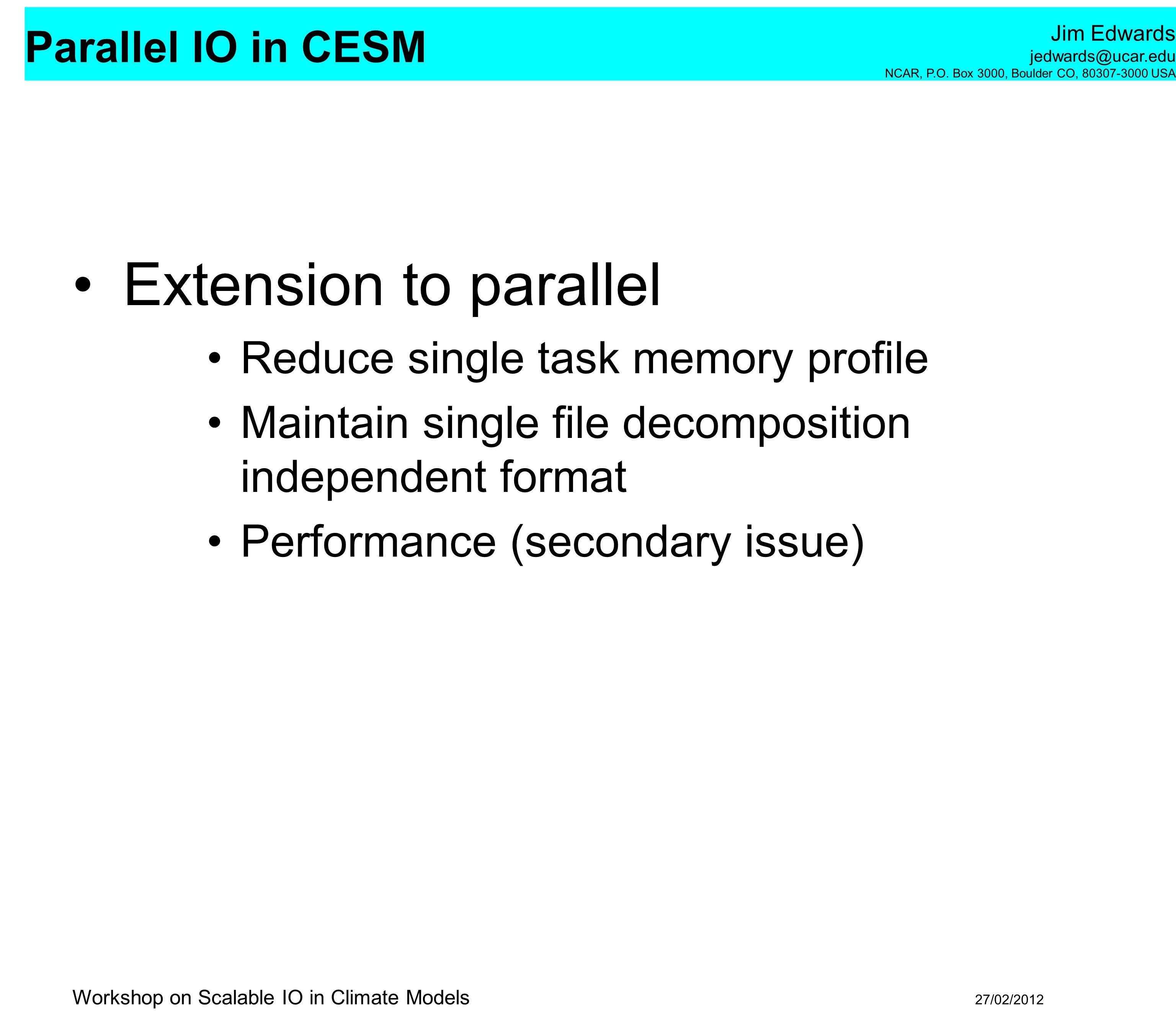 Extension to parallel Reduce single task memory profile
