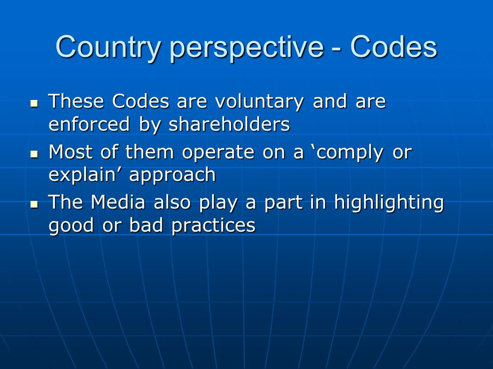 Country perspective - Codes