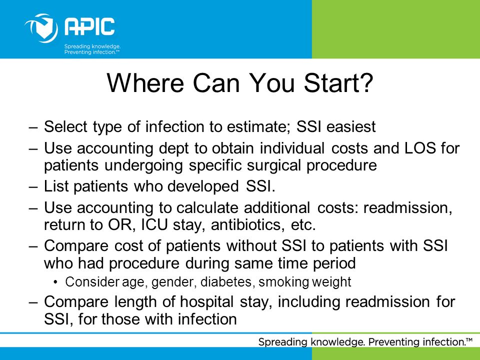 Where Can You Start Select type of infection to estimate; SSI easiest