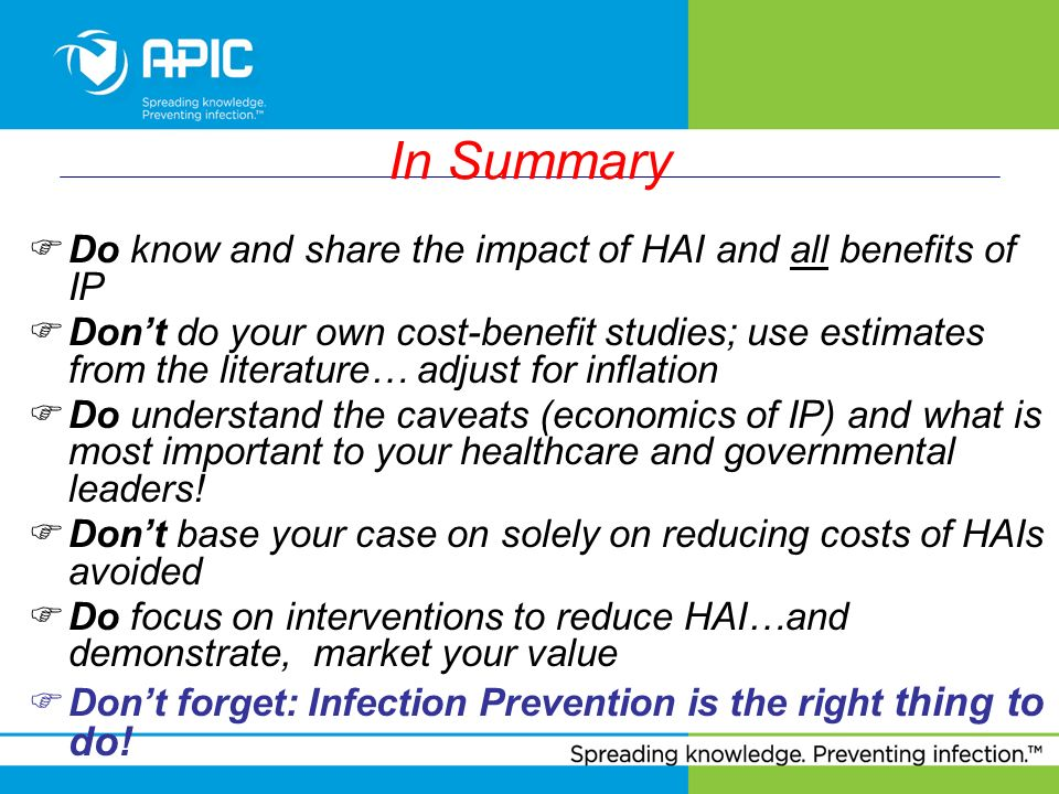 In Summary Do know and share the impact of HAI and all benefits of IP