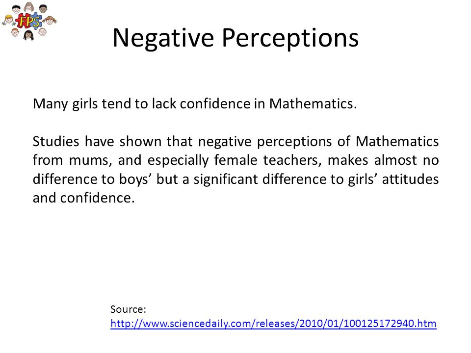 Negative Perceptions Many girls tend to lack confidence in Mathematics.