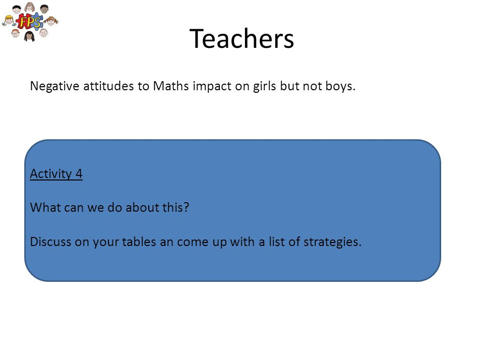 Teachers Negative attitudes to Maths impact on girls but not boys.