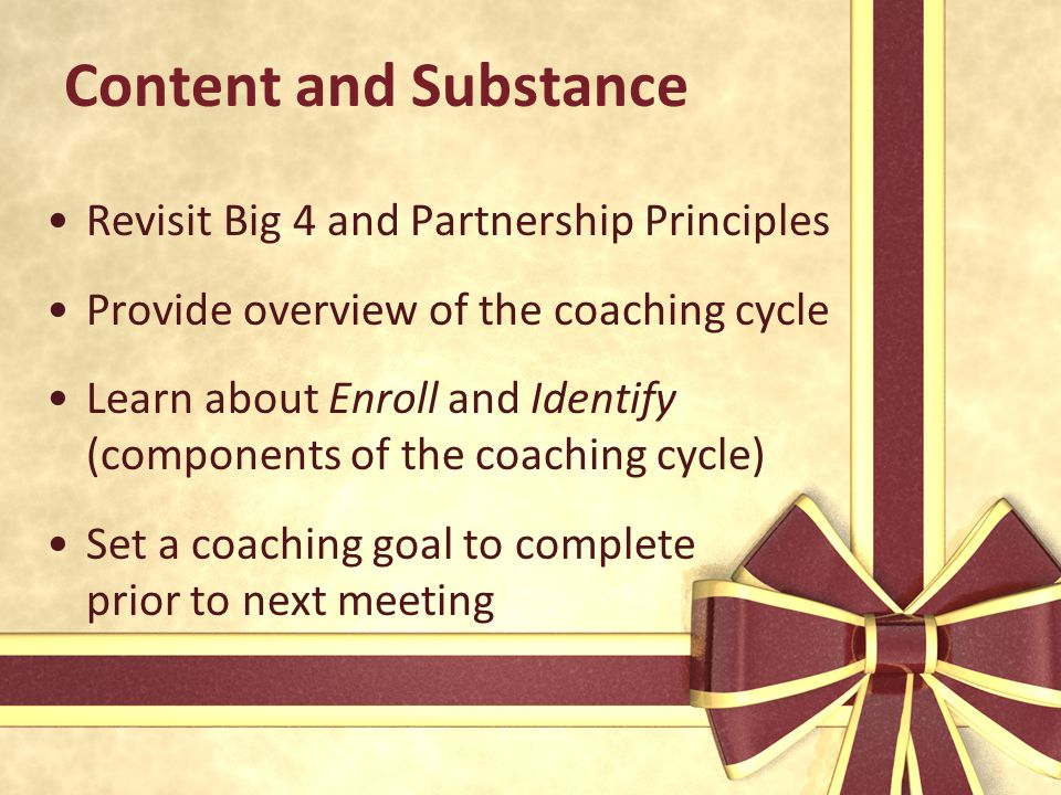 Content and Substance Revisit Big 4 and Partnership Principles