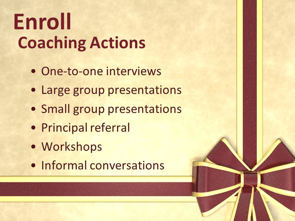 Enroll Coaching Actions One-to-one interviews