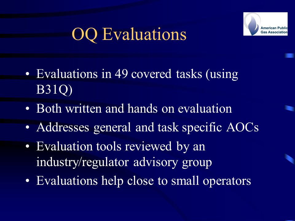 OQ Evaluations Evaluations in 49 covered tasks (using B31Q)