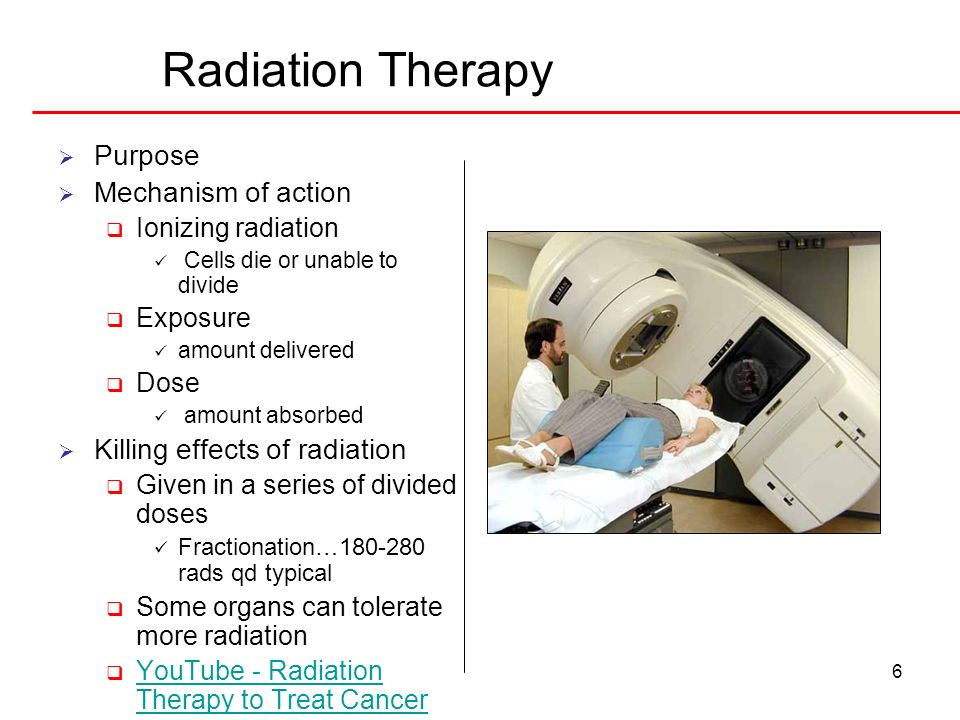 Radiation Therapy Purpose Mechanism of action