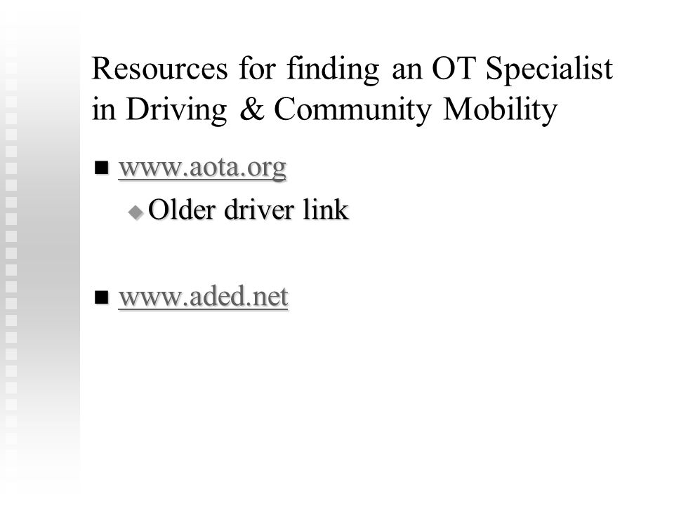 Resources for finding an OT Specialist in Driving & Community Mobility