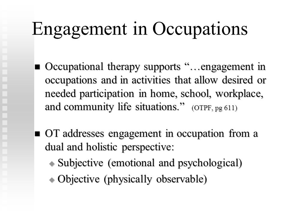 Engagement in Occupations