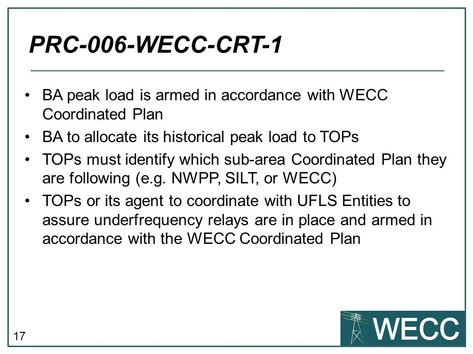 PRC-006-WECC-CRT-1 BA peak load is armed in accordance with WECC Coordinated Plan. BA to allocate its historical peak load to TOPs.