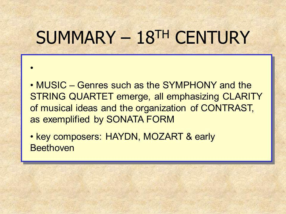 SUMMARY – 18TH CENTURY