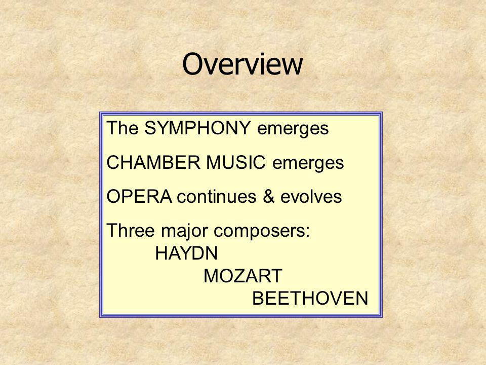 Overview The SYMPHONY emerges CHAMBER MUSIC emerges