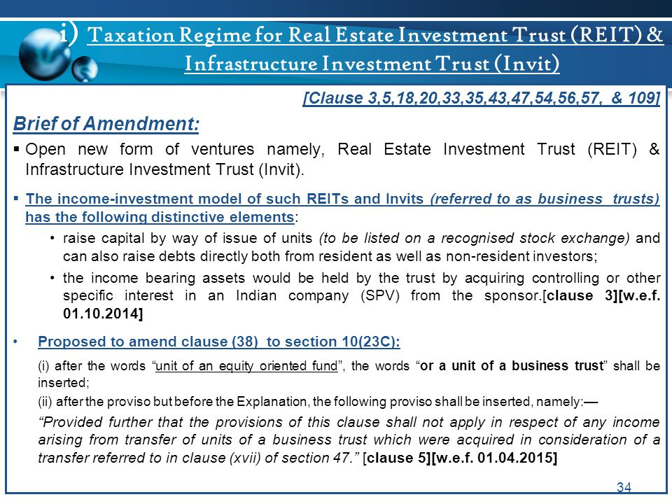 i) Taxation Regime for Real Estate Investment Trust (REIT) & Infrastructure Investment Trust (Invit)