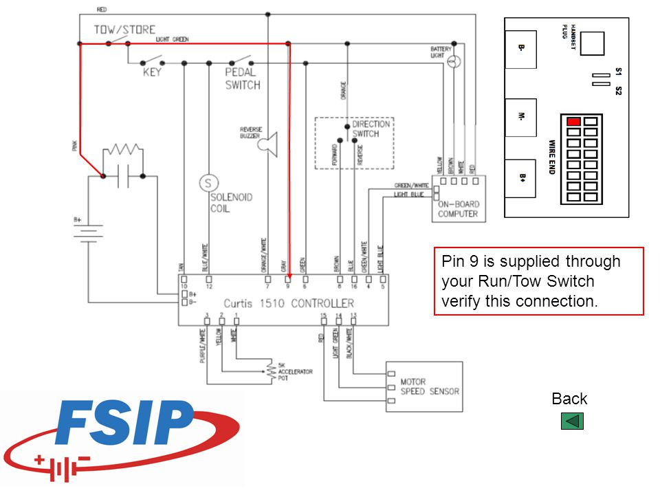 Pin 9 is supplied through your Run/Tow Switch verify this connection.