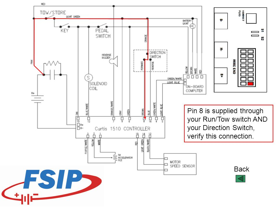 Pin 8 is supplied through your Run/Tow switch AND your Direction Switch, verify this connection.