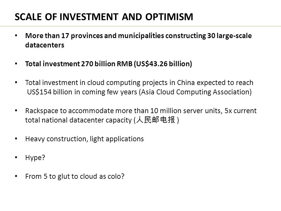 SCALE OF INVESTMENT AND OPTIMISM