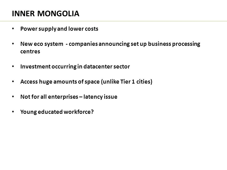 INNER MONGOLIA Power supply and lower costs