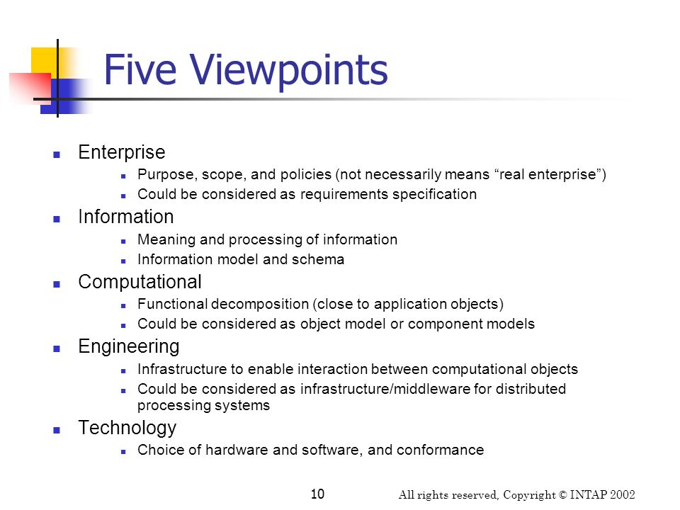 Five Viewpoints Enterprise Information Computational Engineering