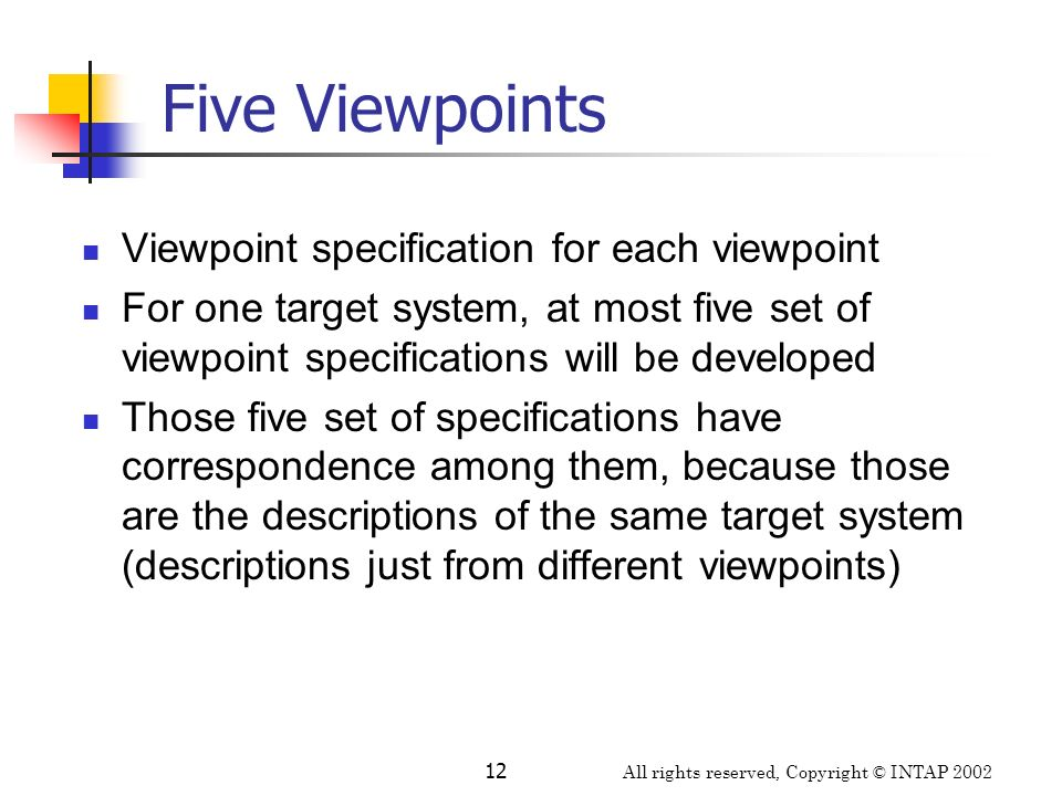 Five Viewpoints Viewpoint specification for each viewpoint