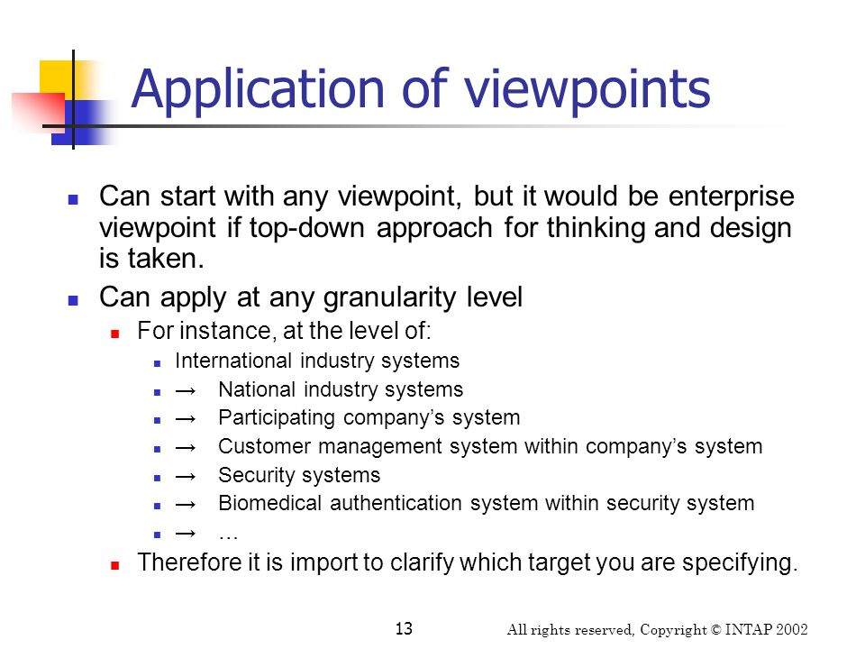 Application of viewpoints