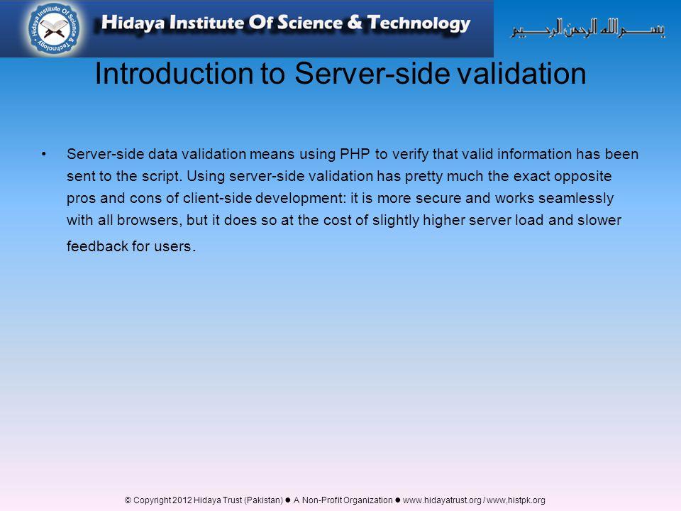 server side validation in php