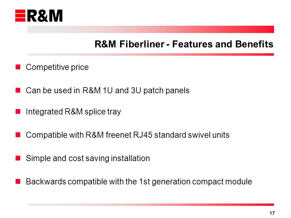 R&M Fiberliner - Features and Benefits