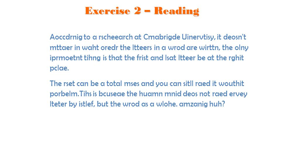 Exercise 2 – Reading