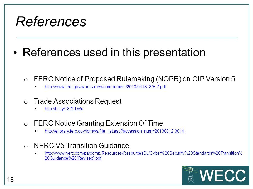 References References used in this presentation