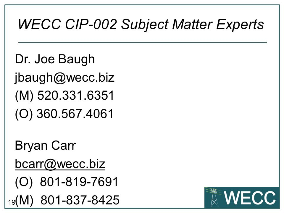 WECC CIP-002 Subject Matter Experts