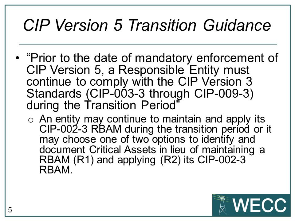 CIP Version 5 Transition Guidance