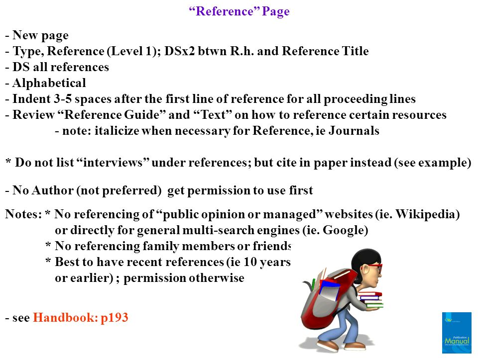 Reference Page - New page. - Type, Reference (Level 1); DSx2 btwn R.h. and Reference Title. - DS all references.