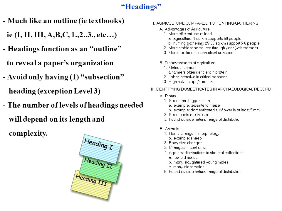 Headings Much like an outline (ie textbooks) ie (I, II, III, A,B,C, 1.,2.,3., etc…) Headings function as an outline
