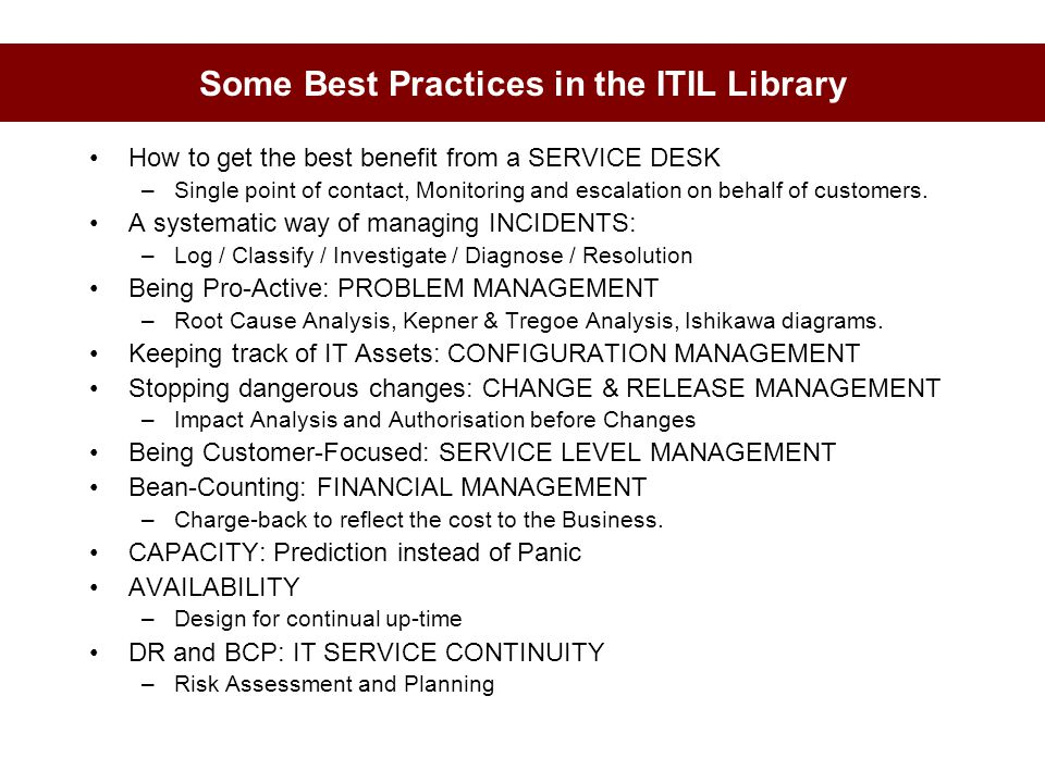 Some Best Practices in the ITIL Library