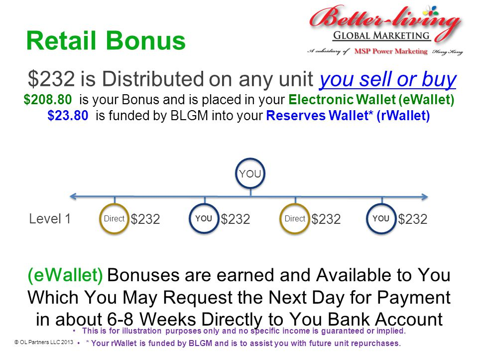$232 is Distributed on any unit you sell or buy