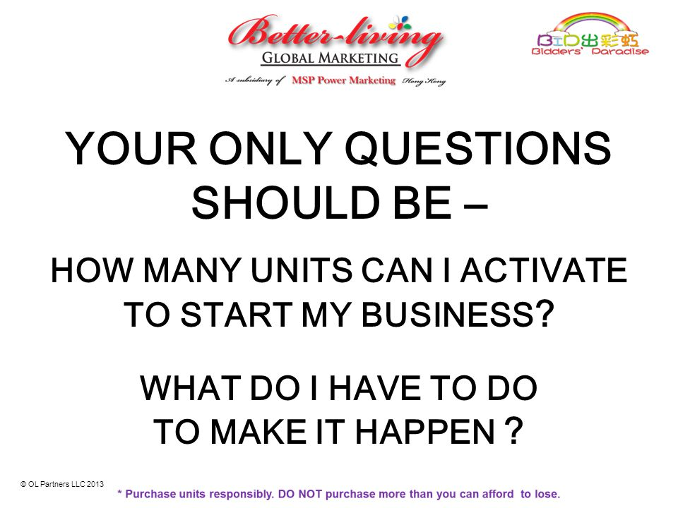 HOW MANY UNITS CAN I ACTIVATE TO START MY BUSINESS