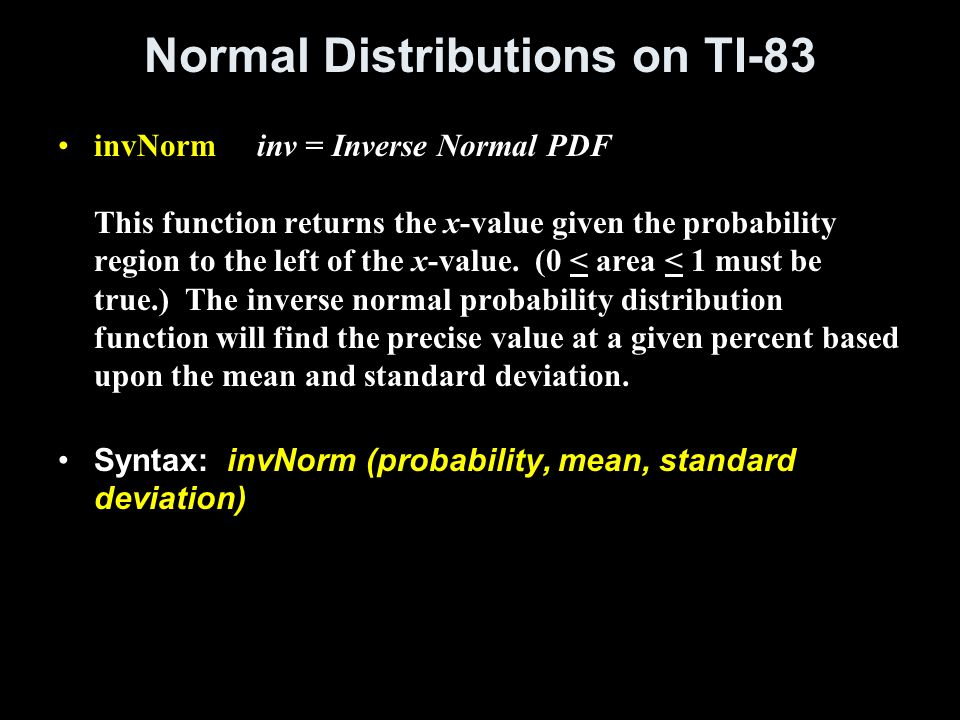 Normal Distributions on TI-83