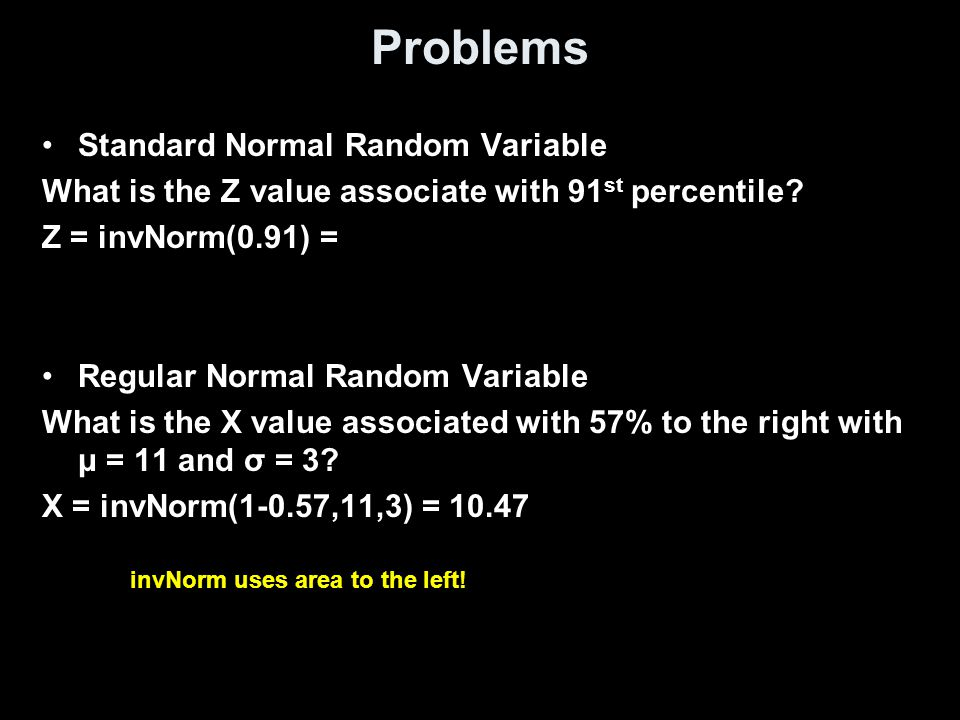 Problems Standard Normal Random Variable