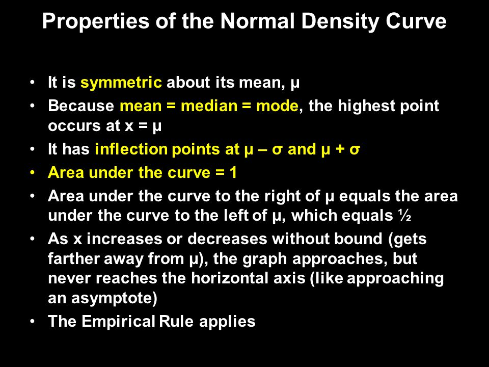 Properties of the Normal Density Curve