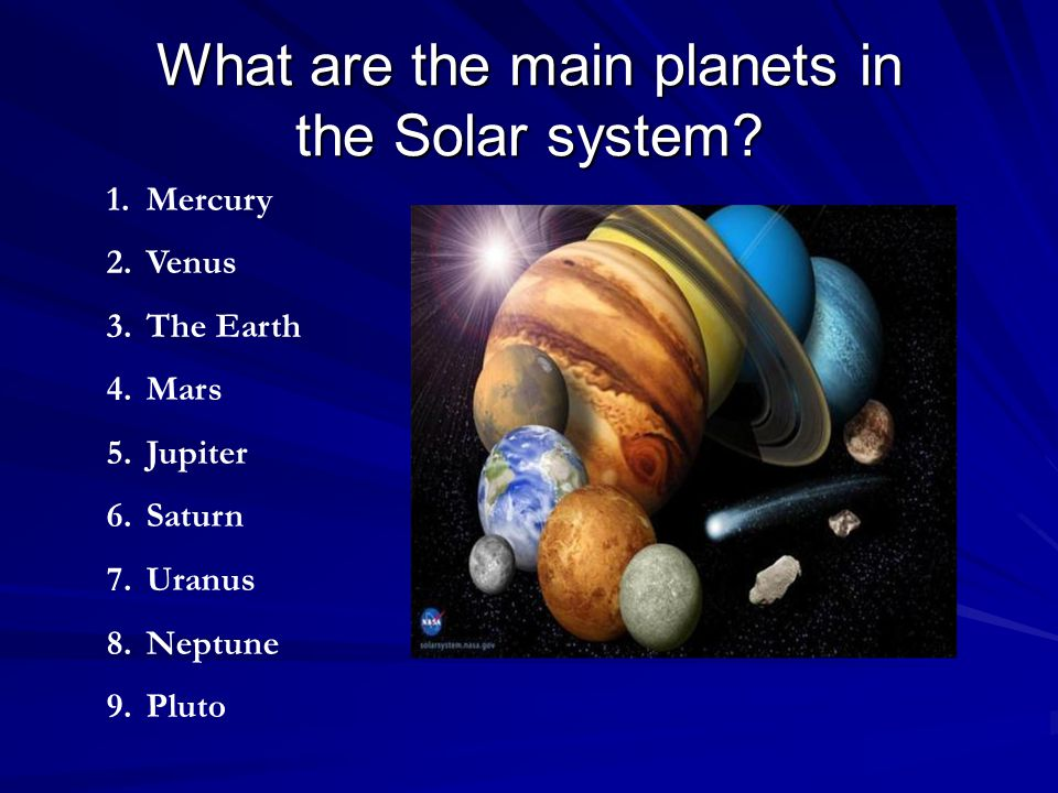 What are the main planets in the Solar system