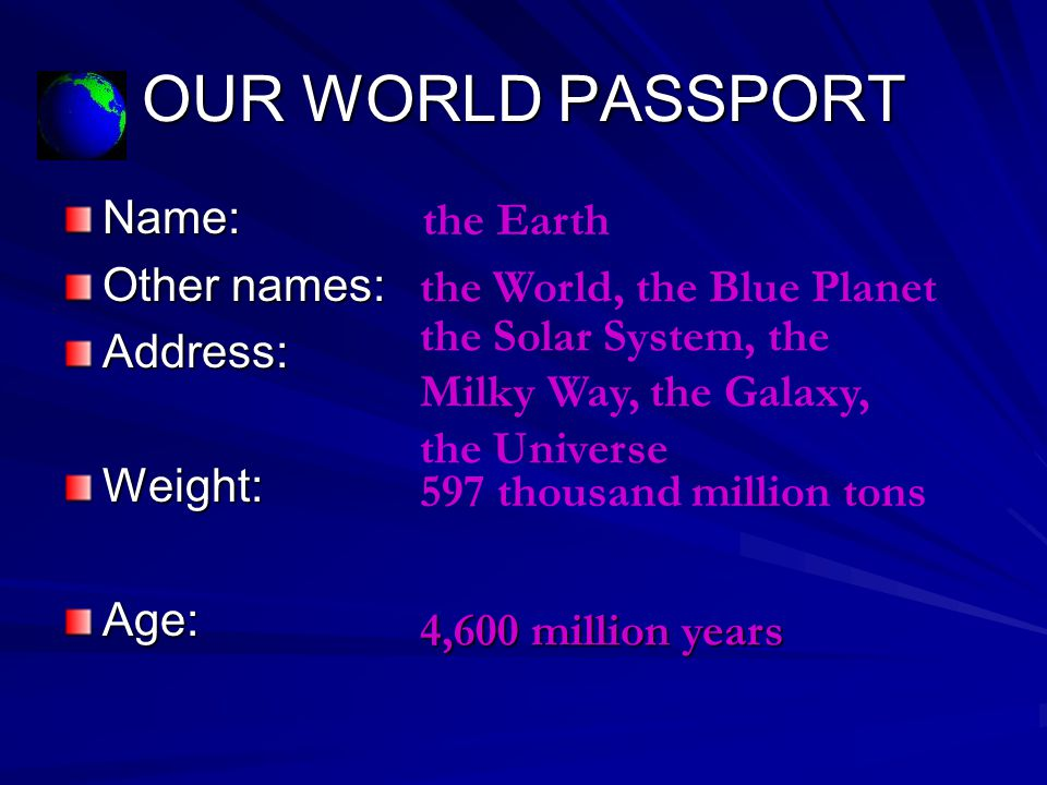 OUR WORLD PASSPORT Name: the Earth Other names: Address: