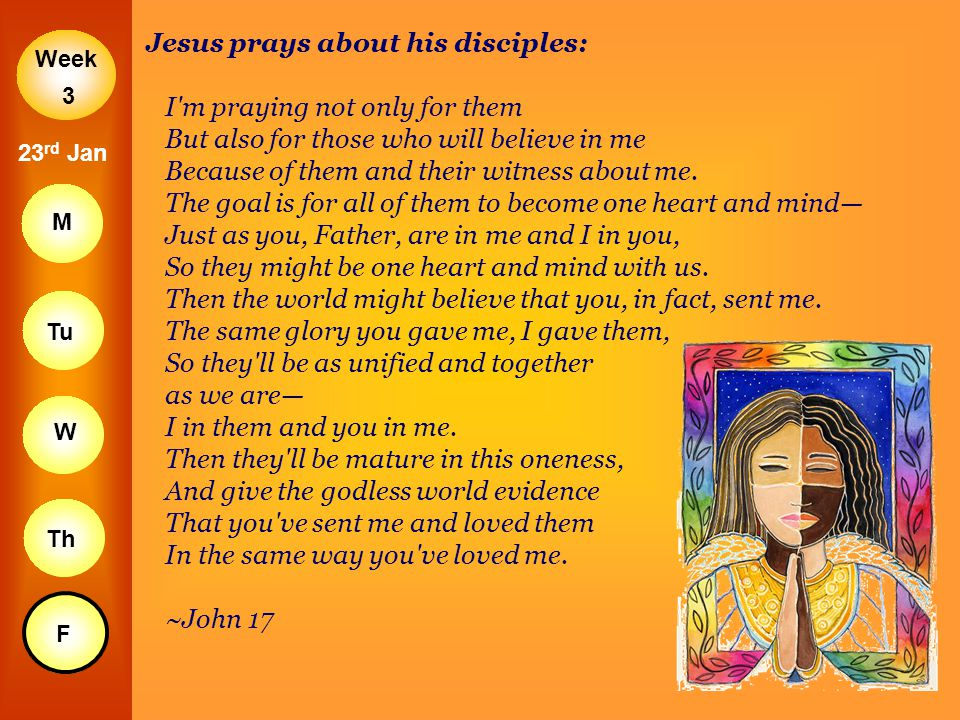 Jesus prays about his disciples: